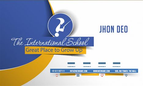 International school business card vector