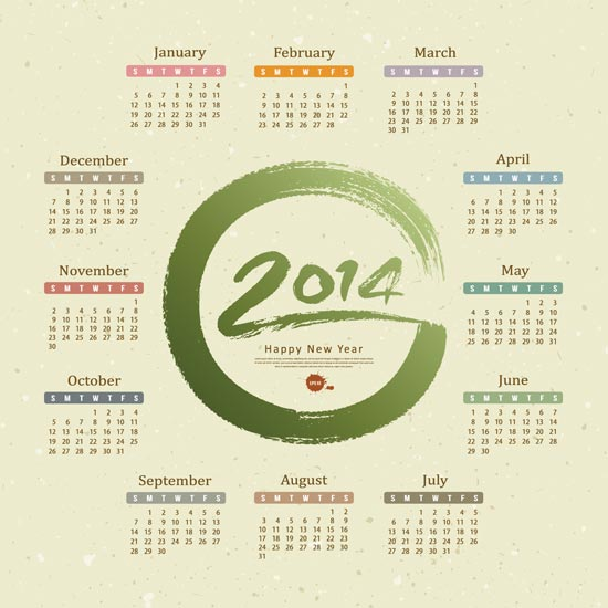 2014 calendar vector templates these four royalty free 2014 calendar models with various colors and designs are packed as eps files so you can use them both with corel draw and with adobe reheart Image collections