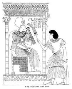 King tutankamen on his thro