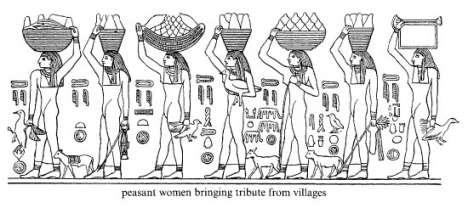Peasant women bringing tribute