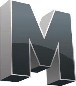 3D alphabet M letter vector