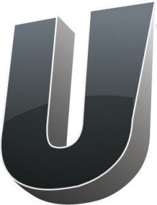 3D alphabet U letter vector