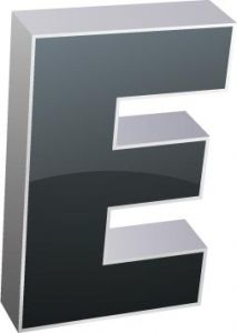 3D alphabet E letter vector