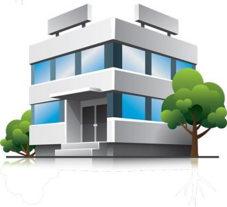 3D houses and office buildings vectors