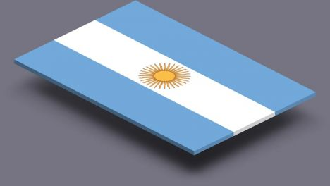 perspective transparent flag of Argentina