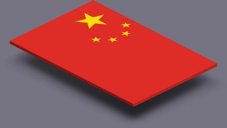 perspective transparent flag of China