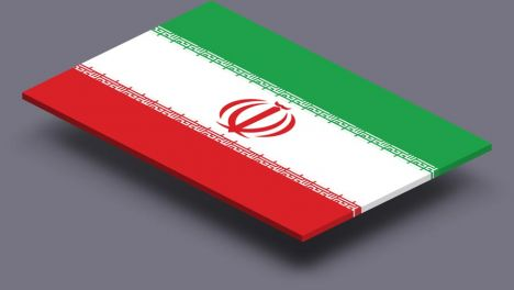 perspective transparent flag of Iran