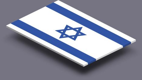perspective transparent flag of Israel
