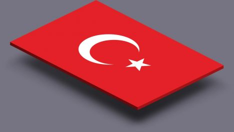 perspective transparent flag of Turkey