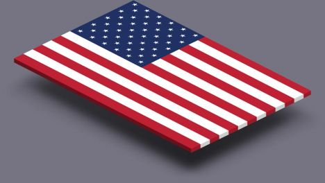 perspective transparent flag of United States of America