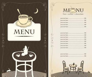 Restaurant menu in vectorial format