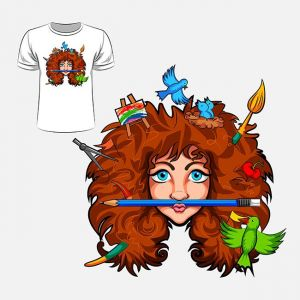 Abstract graphic design of girl with creative head for t-shirt or banner print,Abstract graphic design of girl with creative head for t-shirt or banner print