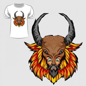 Abstract graphic design of man wearing bison mask for t-shirt or banner print,Abstract graphic design of man wearing bison mask for t-shirt or banner print