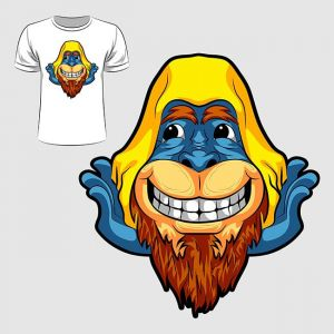 Abstract graphic design of monkey face for t-shirt or banner print,Abstract graphic design of monkey face for t-shirt or banner print