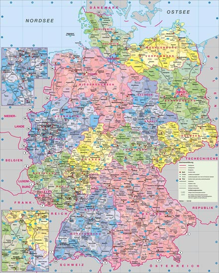 Administrative physical and relief map of Germany
