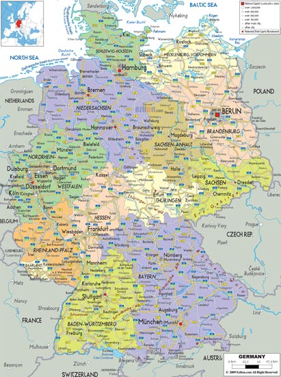 Administrative Physical And Relief Map Of Germany - Germany physical map