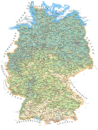 Administrative, physical and relief map of Germany