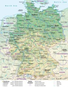 Large detailed general and relief map of germany with cities and roads