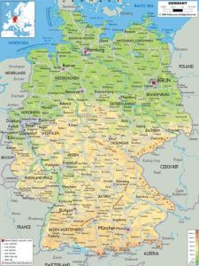 Large detailed physical map of germany with all cities roads and airports