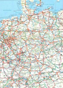 Large detailed road map of germany with all cities