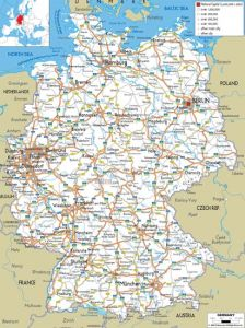 Large detailed road map of germany with all cities and airports