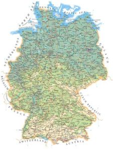 Large detailed road map of germany with all cities villages and airports