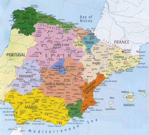 Physical And Relief Map Of Spain - Portugal map physical