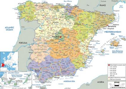 Administrative, physical and relief map of Spain