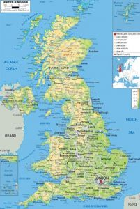 large detailed physical map of united kingdom with all roads cities and airports for free