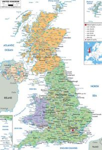 large detailed political and administrative map of united kingdom with all roads cities and airports for free