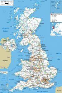 large detailed road map of united kingdom with all cities and airports for free