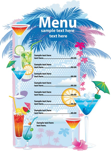 Alcoholic drinks menu vector template