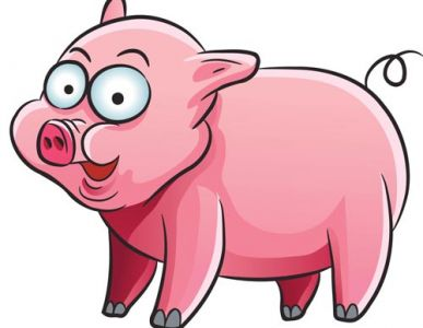 Pink pig animal farm vector design