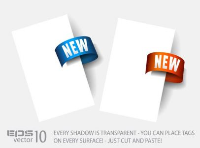 Arrow stickers with transparent shadow vectors