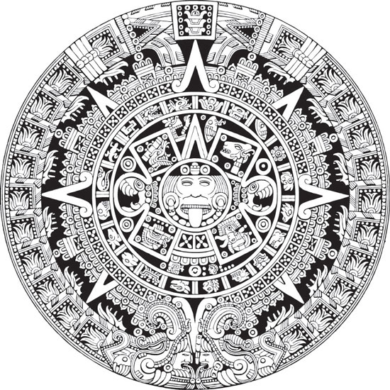 Mayan Calendar Drawing Easy : Aztec calendar vector eps