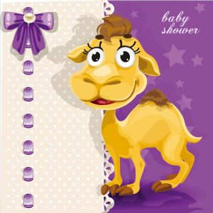 Happy baby camel vector card