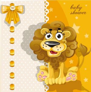 Happy baby lion vector card