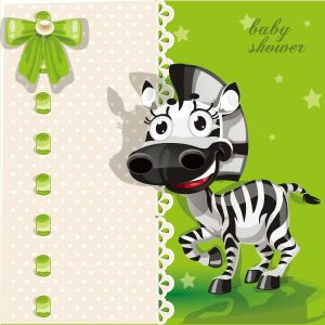 Happy baby zebra vector card