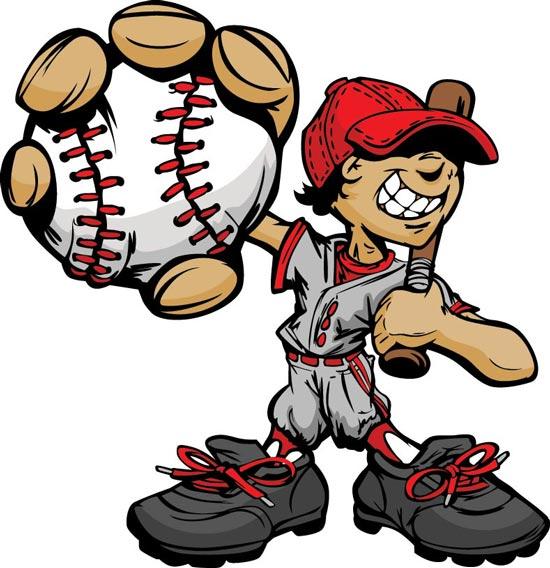 Baseball cartoon chara...