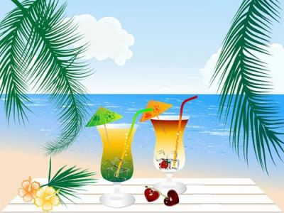 Beach cocktail vector template