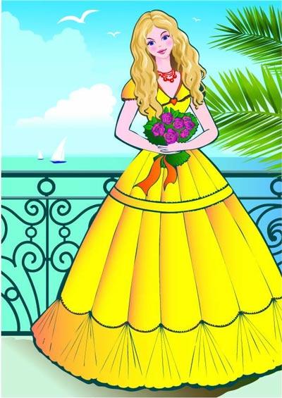 beautiful princess vector cartoons