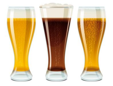 Glasses filled with beer vectors
