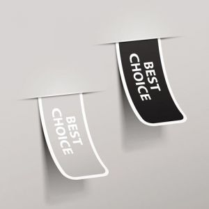 Best choice stickers on gray background