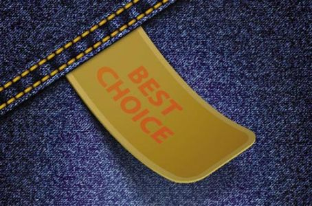 Best choice stickers on jeans background