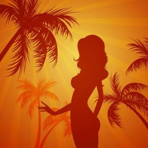 Girl shape on the beach vector