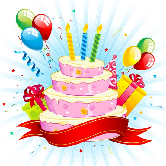 Admirable Birthday Cakes And Balloons Vectors Personalised Birthday Cards Veneteletsinfo