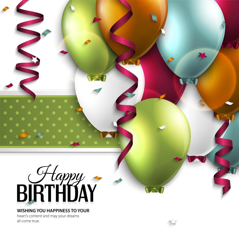Birthday Colored Baloons Vector Cards