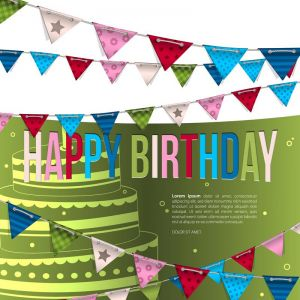 Vector birthday card with bunting flags.