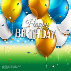 Vector birthday card with balloons and birthday text on colorful background.