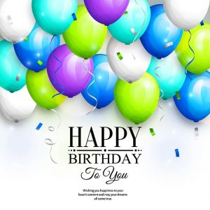 Happy birthday greeting card. Party colorful balloons, streamers, confetti and stylish lettering. Vector.,Happy birthday greeting card. Party colorful balloons, streamers, confetti and stylish lettering. Vector.